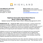 Highland Associates Named Best Place to Work in Money Management 2017